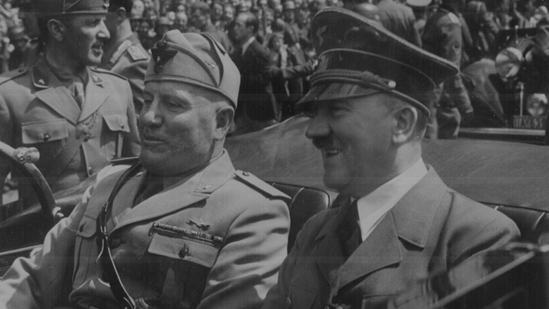 Adolf Hitler and Benito Mussolini in Munich, Germany, ca. June 1940
