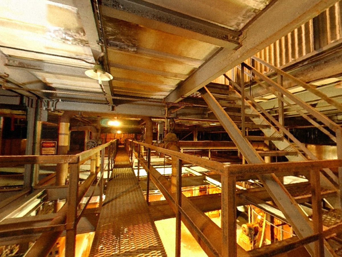 Catwalk in K-25 Pipe Gallery with stairs to Operating Floor