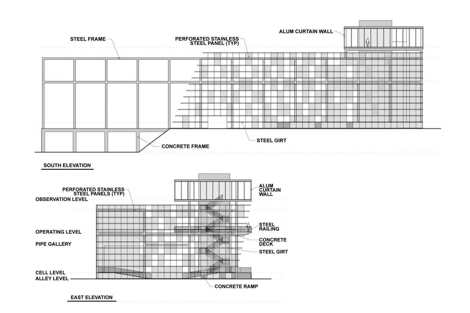 K-25 Equipment Building - Viewing Tower (East Elevation Schematic)